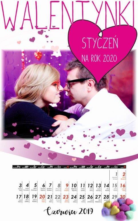 Kalendarz Walentynkowy A3 13 Str Serca Lansystempl Kalendarze